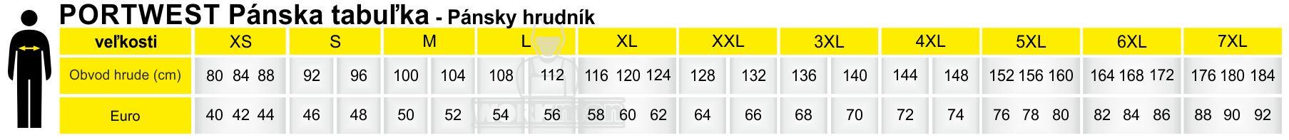 PORTWEST Pánska tabuľka - Pánsky hrudník