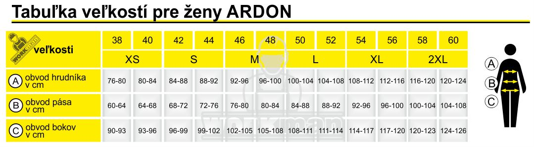 Tabuľka veľkostí pre ženy ARDON