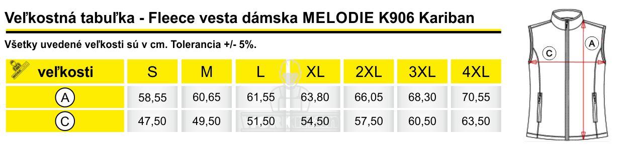 Veľkostná tabuľka - Fleece vesta dámska MELODIE K906 Kariban