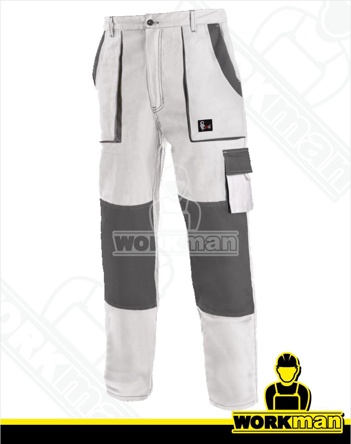 3617898baf57 Montérkové nohavice LUXY JOSEF do pása Cxs biela sivá pracovné odevy