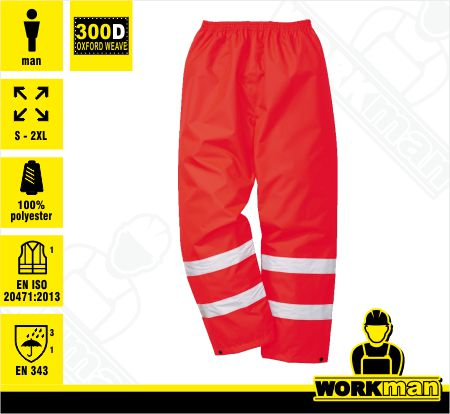 1412a6ba70de Nepremokavé reflexné nohavice Hi-vis TRAFFIC RED Portwest