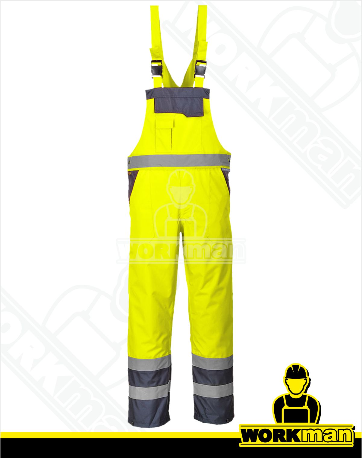 ac840c3f3609 Reflexné nohavice Hi-Vis S488 s náprsenkou Portwest žltá