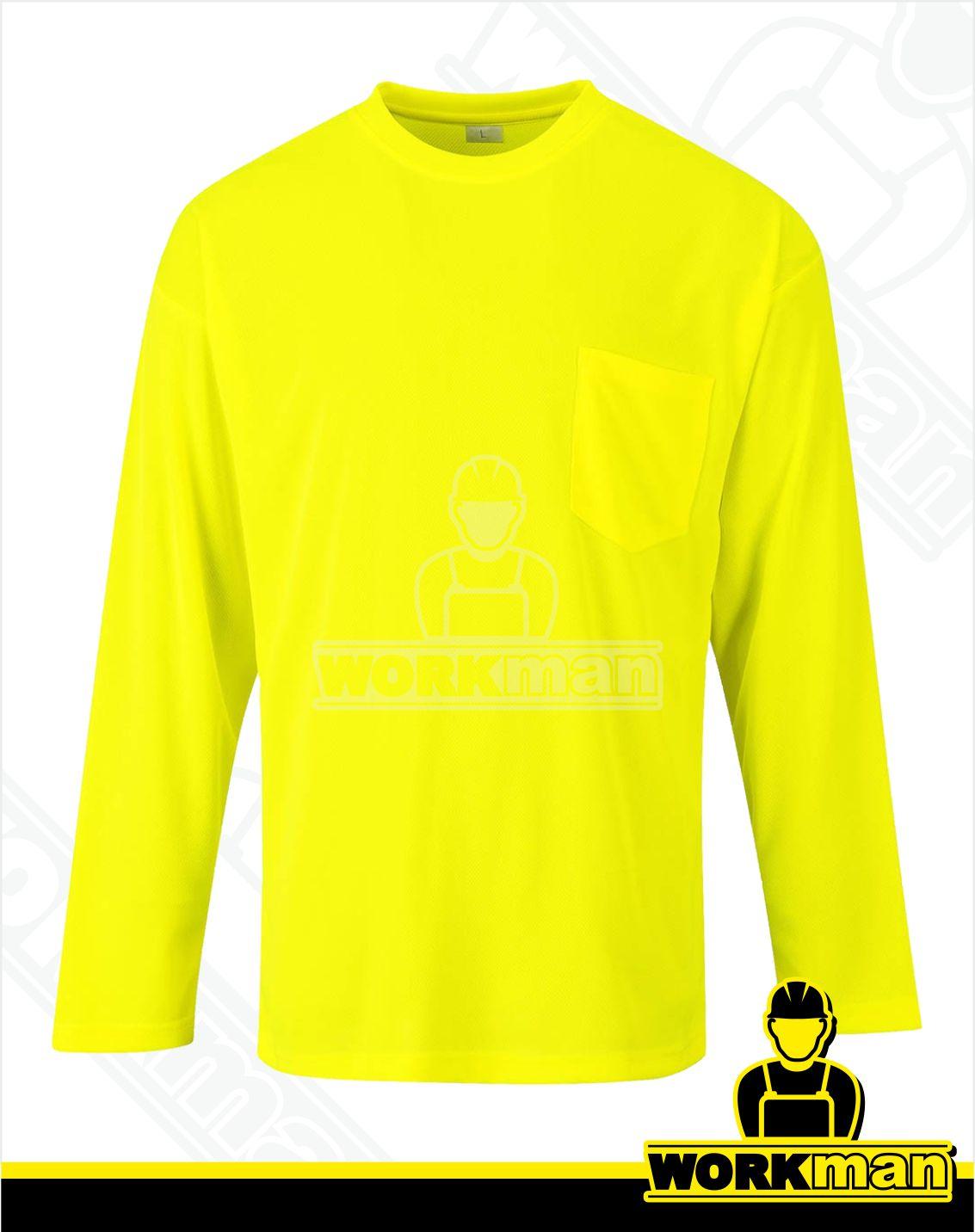 697a6efcba069 Reflexné tričko s dlhým rukávom a vreckom DAY-VIS S579 Portwest žltá