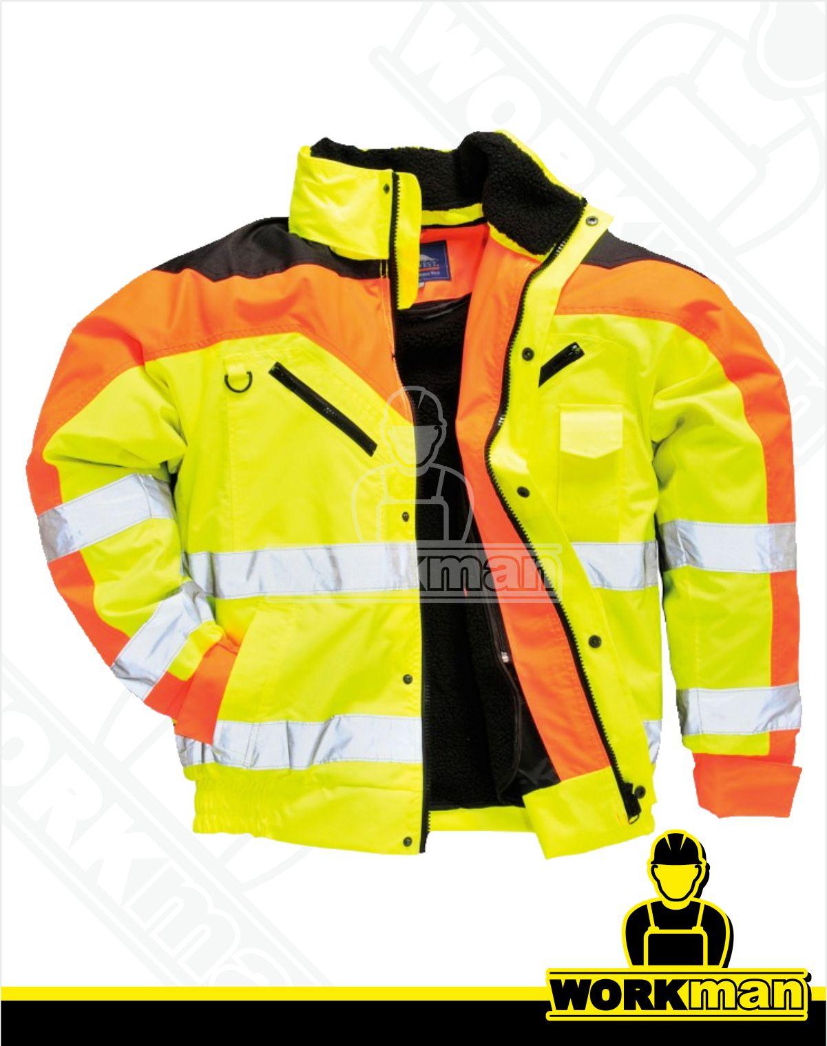 b376523f6784 Zateplená reflexná bunda BOMBER CONTRAST PLUS S464 Portwest žltá