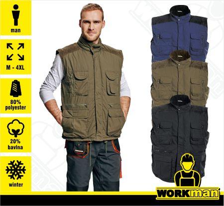 Zateplená vesta s menčestrovými výložkami DAVID Pracovné odevy Workman e690a805f63