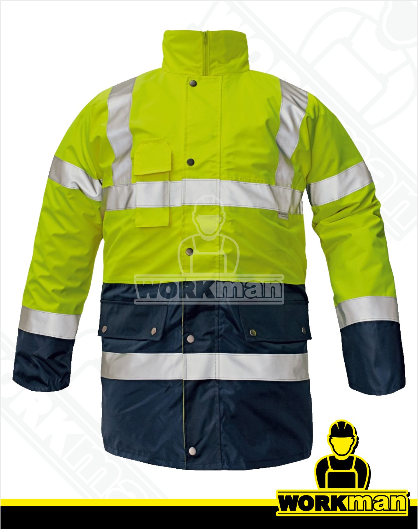 37fb77370bb8 Zimná výstražná bunda BIROAD 3v1 Červa žltá Pracovné odevy WORKMAN