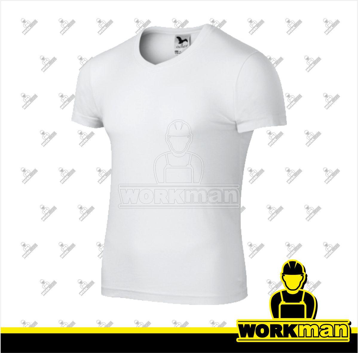 184e50462a45 Tričko pánske SLIM FIT V-NECK Adler biela Pracovné odevy WORKMAN