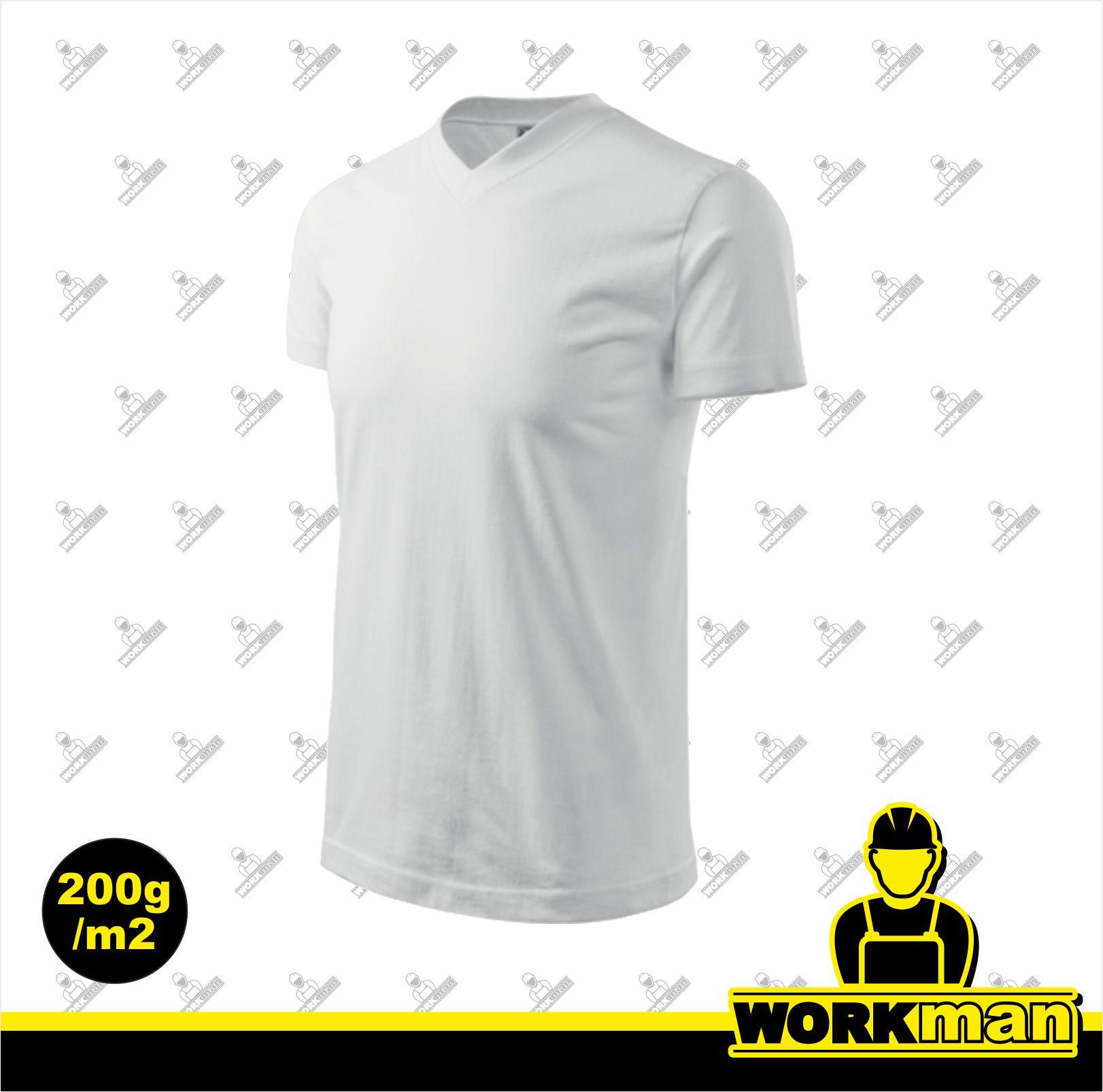 Tričko unisex HEAVY V-NECK Adler biela Pracovné odevy WORKMAN 03c69fc605