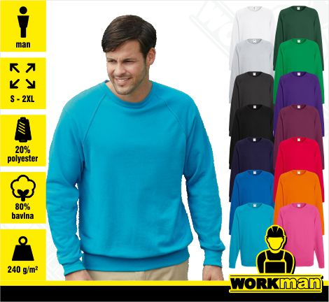 Pánska mikina LIGHTWEIGHT RAGLAN SWEAT Fruit of the Loom .