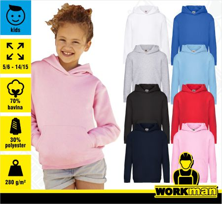 Detská mikina s kapucňou KIDS PREMIUM HOODED SWEAT Fruit of the Loom .