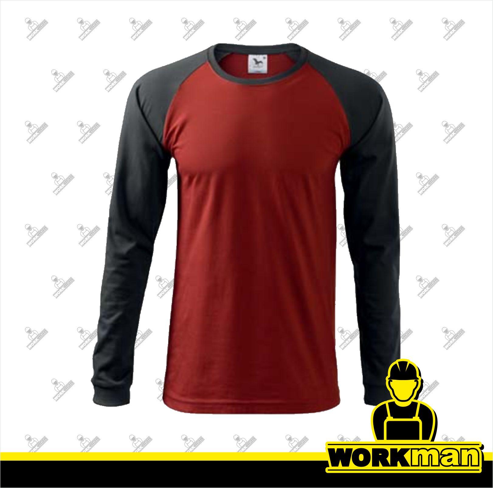 Tričko pánske STREET LS Adler marlboro červená Pracovné odevy WORKMAN bdd497570e7