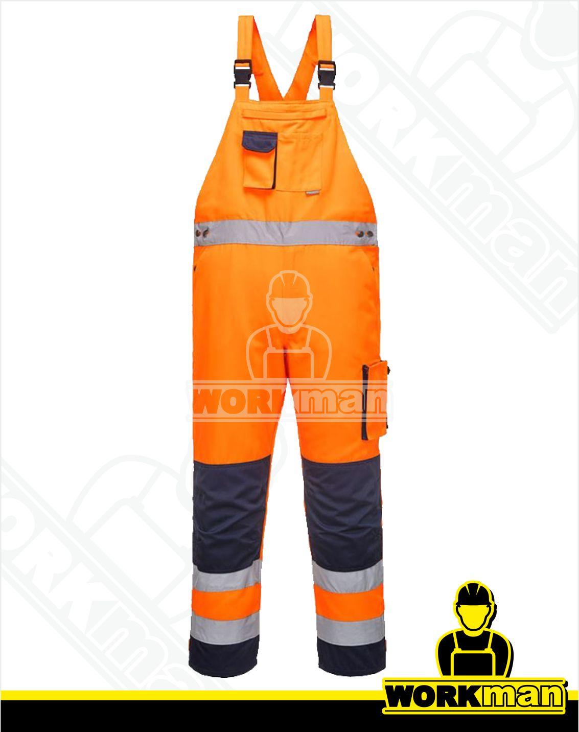 Reflexné nohavice Hi-Vis TEXO TX52 s náprsenkou Portwest oranžová 1ed1354bcff