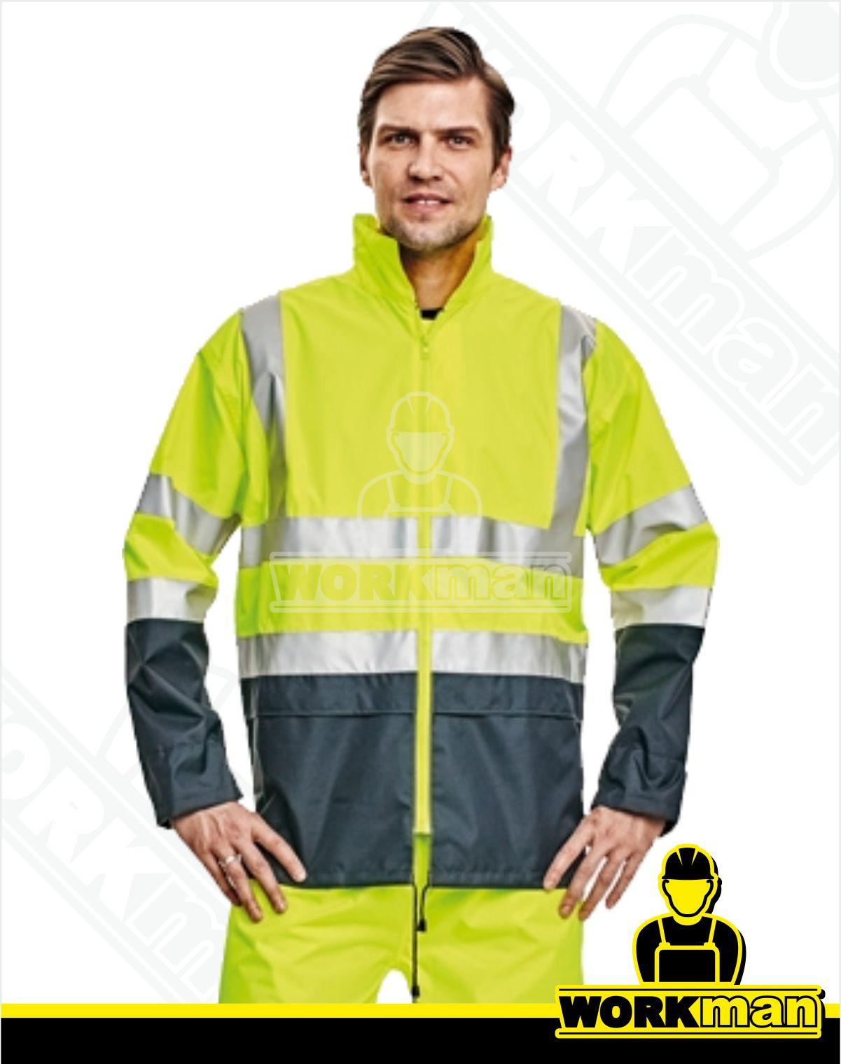 Reflexná vodeodolná bunda EPPING ČERVA oranžová Pracovné odevy WORKMAN b70d5d4060f