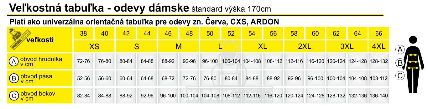 tabuľka odevov Červa, CXS, ARDON dámska