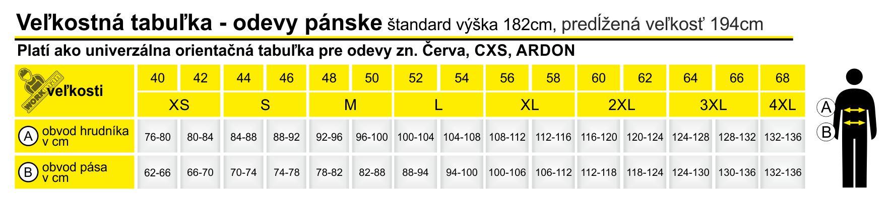 Tabuľka odevou pánska Červa CXS Ardon